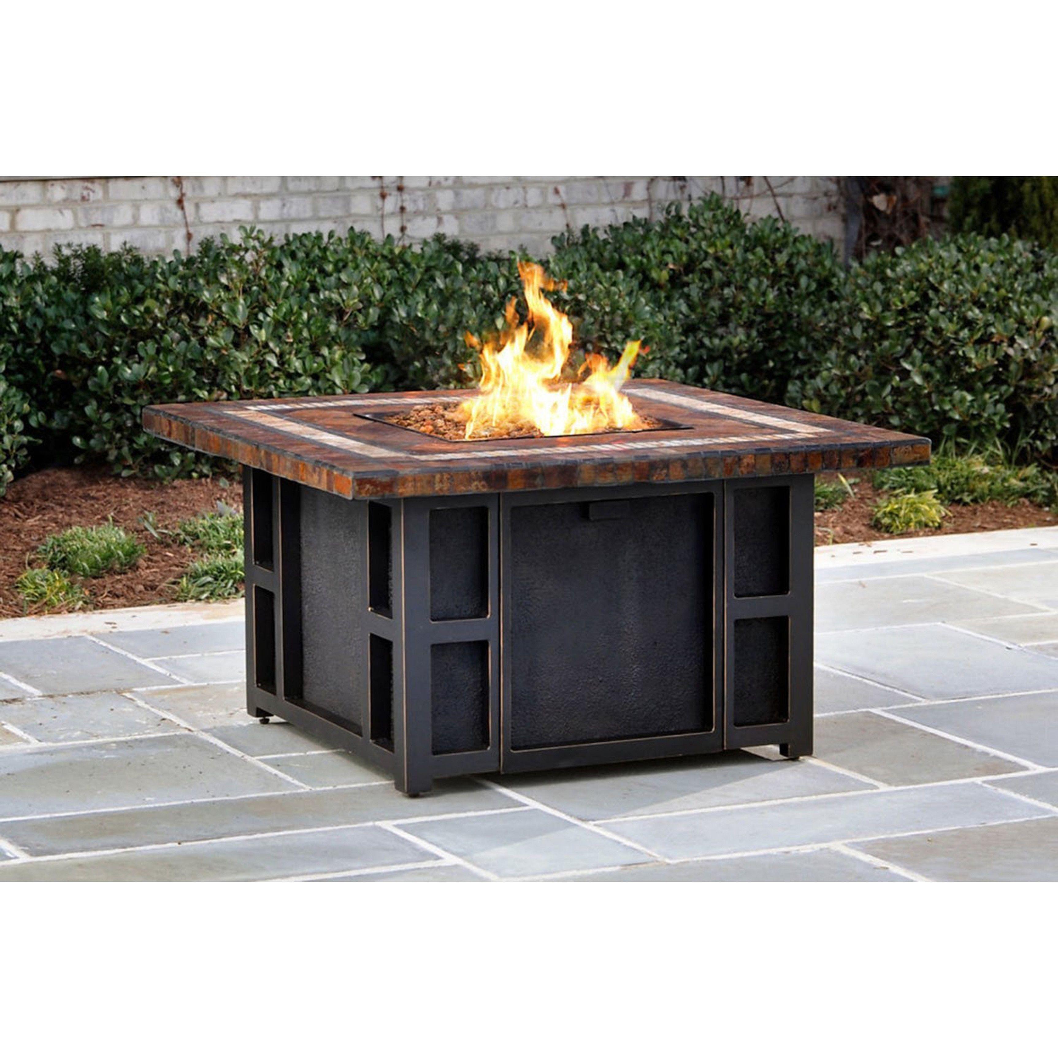 Aspen Firepit Table with Strip Burner System, Amber Lava