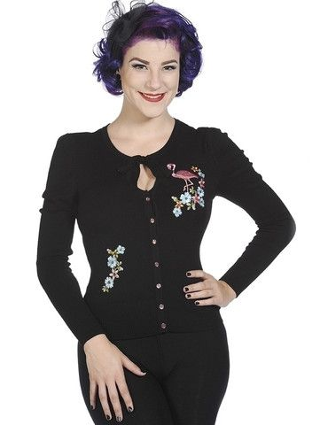 Black & Pink Flamingo Cardigan by Banned Apparel at Anomalie Clothing - This gorgeous cardigan from Banned Apparel features pink flamingo and tropical flowers appliques to front; pink pearlised buttons; tear drop shaped keyhole bust with ribbon ties; long sleeves; slim fitting with stretch; soft knit fabric (60% Rayon, 20% Polyamide, 20% Spandex). Instantly dress up your favourite plain pants or skirt with this quirky cardigan!