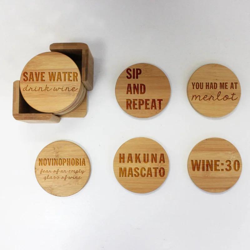 Trinx Custom Engraved Wine Lovers Coaster Set With Holder Engraved Coasters Wine Coasters Drink Coasters