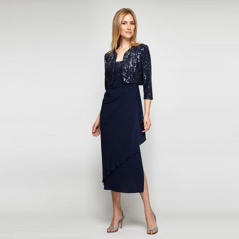 Alex evenings draped sequin dress with bolero vonmaur
