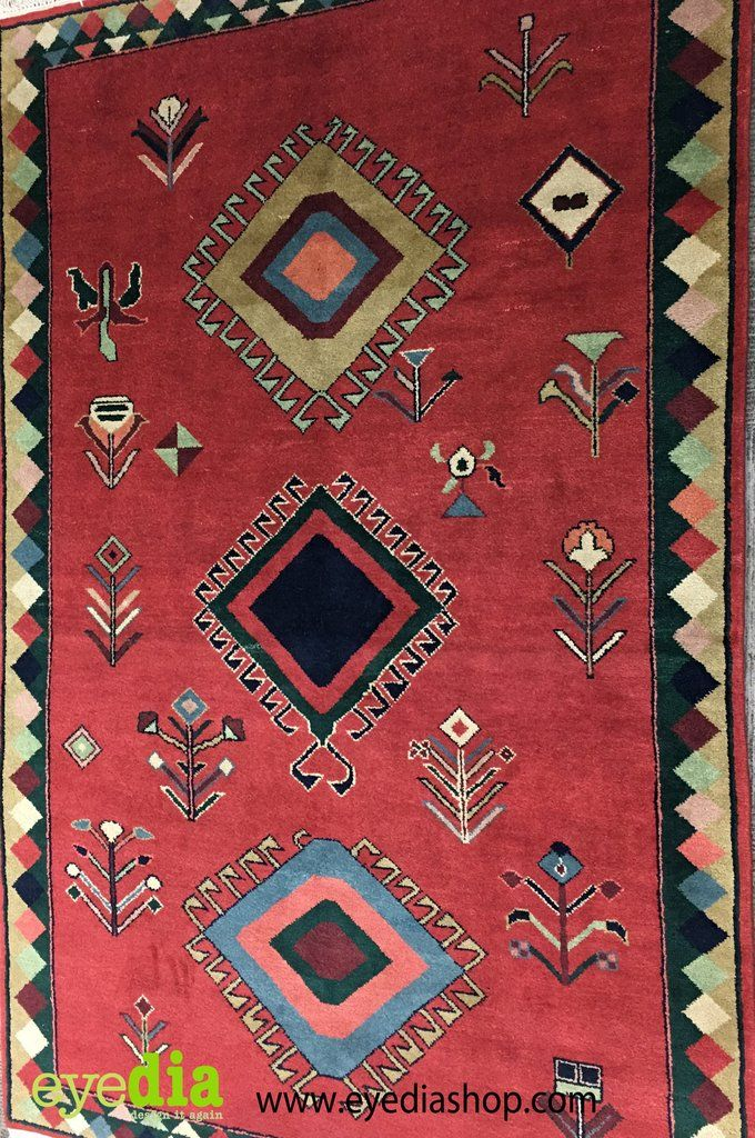 Gabbeh Red and Cream Area Rug