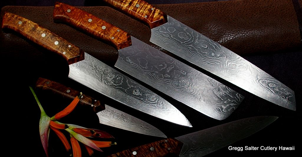 custom chef knife set by salter fine cutlery blades by takeshi saji of japan www. Black Bedroom Furniture Sets. Home Design Ideas