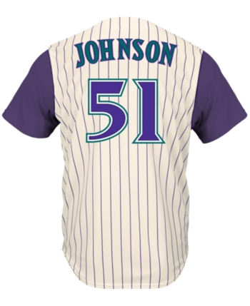 2117a29c0 Majestic Men's Randy Johnson Arizona Diamondbacks Cooperstown Player Replica  Cb Jersey - White/Purple XXL