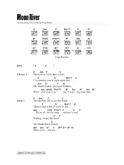 Moon River by Andy Williams - Guitar Chords/Lyrics - Guitar ...