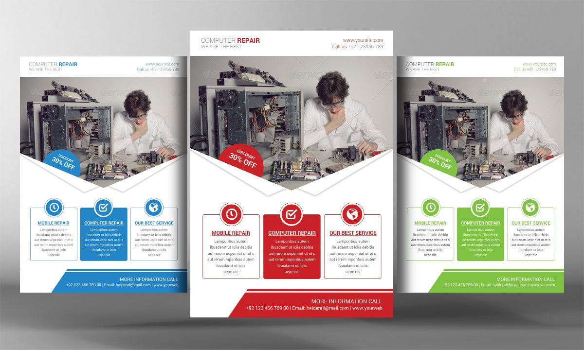 Computer Repair Flyer Template By Business Templates On Creativemarket Computer Repair Flyer Template Word Template