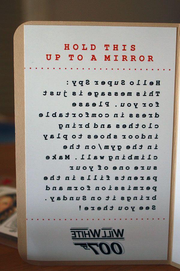 Secret message decoded in mirror Kids invited