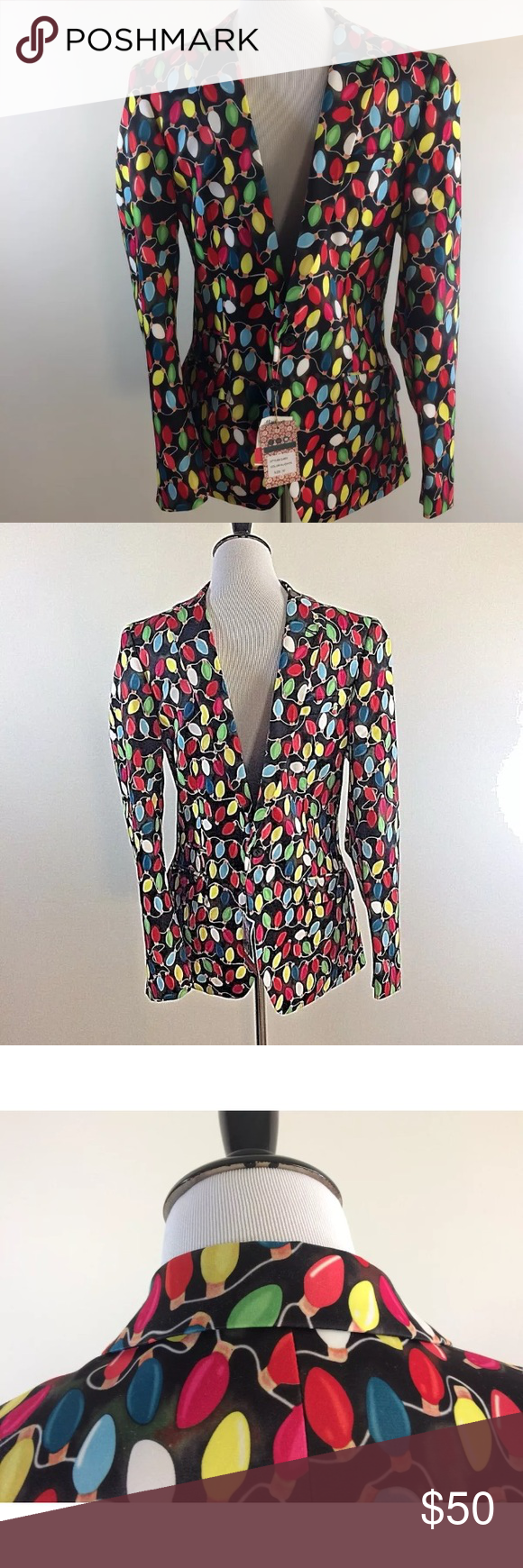 Christmas Suslo Couture Blazer Slim Fit Sport Coat Holiday Lights NWT! NEW