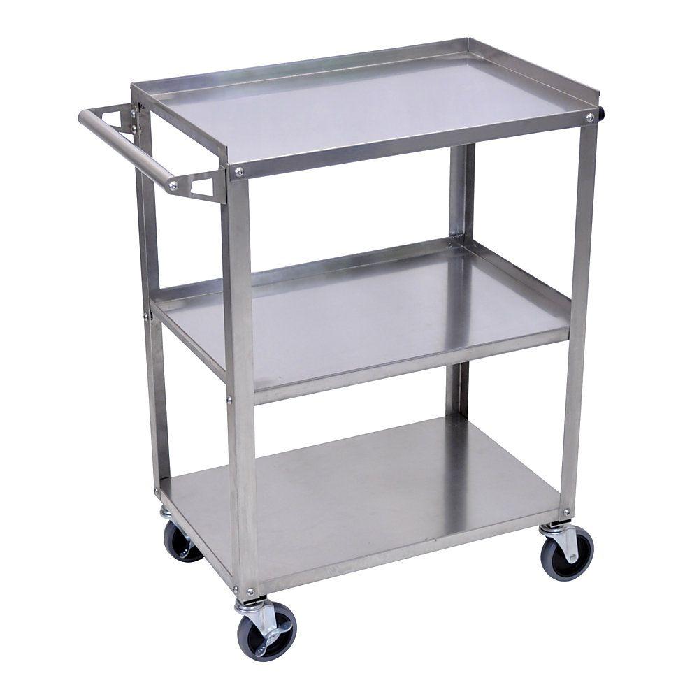Luxor 3 Shelf Stainless Steel Serving Cart 34 1 4 H X 28