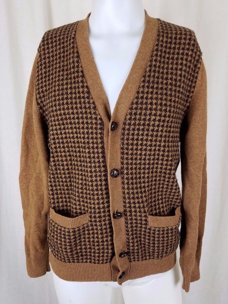 LL Bean Knit Houndstooth LambsWool Wool Button Up Cardigan SWEATER Mens M  Brown  LLBean  Cardigan caa2e7703