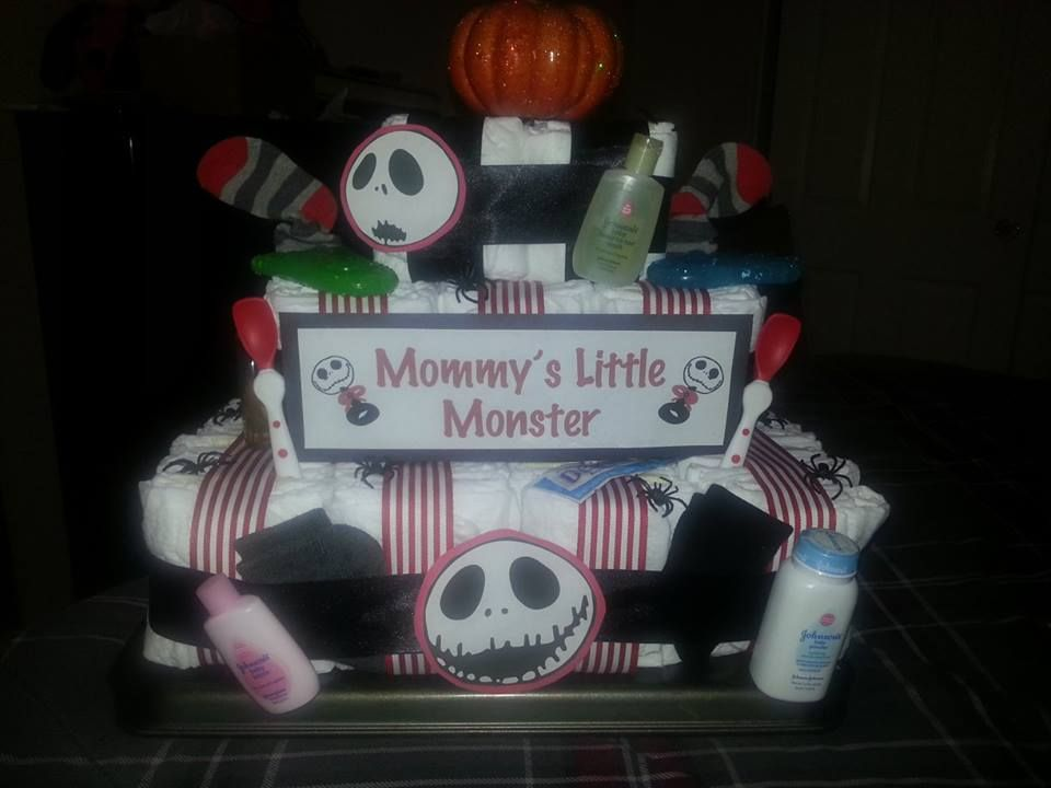 Christmas Baby Shower · Nightmare Before Christmas Diaper Cake