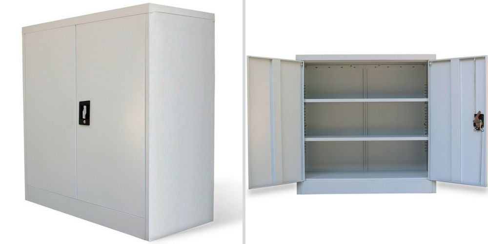 Metal Office Cabinet Storage Filing Reception Unit 2 Doors Shelves Organiser Metalofficecabinet Storage Cabinets Office Cabinets Shelf Organization