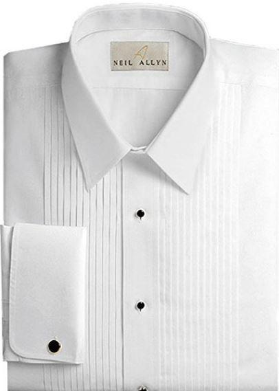 New Mens White Tuxedo Shirt 100/% Cotton French Cuffs Pleated Laydown Collar