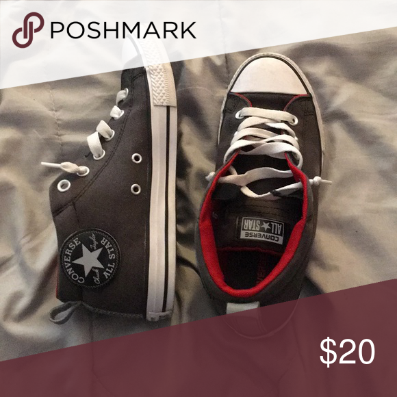Grey and red converse for $10   Red