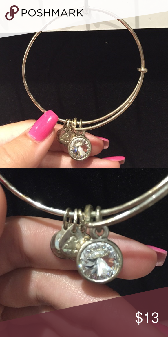 Alex and Ani Diamond bangle Alex and Ani diamond birthstone bangle. Bangle is tarnished but blends nicely when stacked with other bangles! Alex & Ani Jewelry Bracelets
