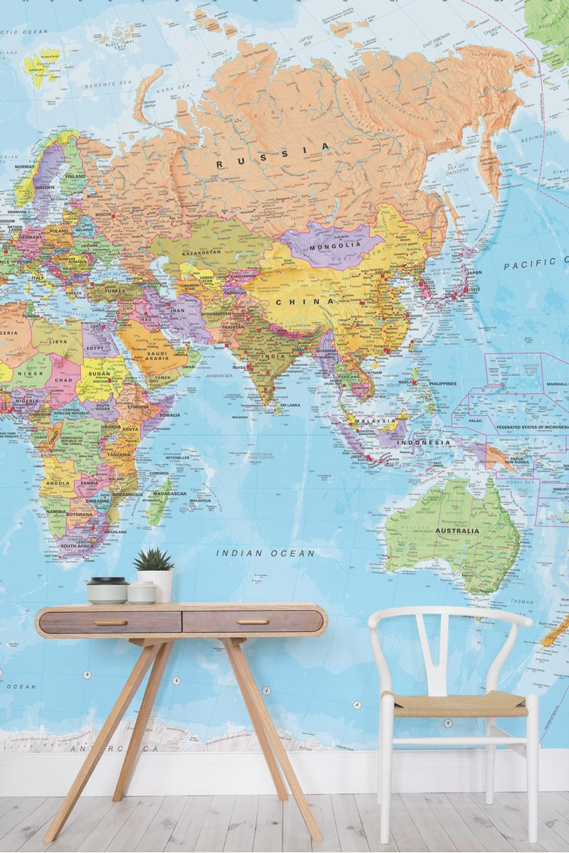 Create a statement on the walls with this beautiful world map mural create a statement on the walls with this beautiful world map mural vivid colour brings world map wallpapernursery publicscrutiny Gallery