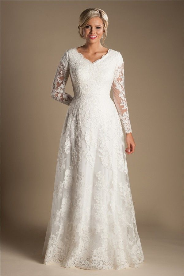 Modest a line v neck long sleeve ivory lace wedding dress for Modest a line wedding dresses