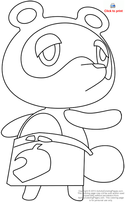 Tom Nook From Animal Crossing Coloring Page Animal Crossing Animal Crossing Tom Nook Super Coloring Pages