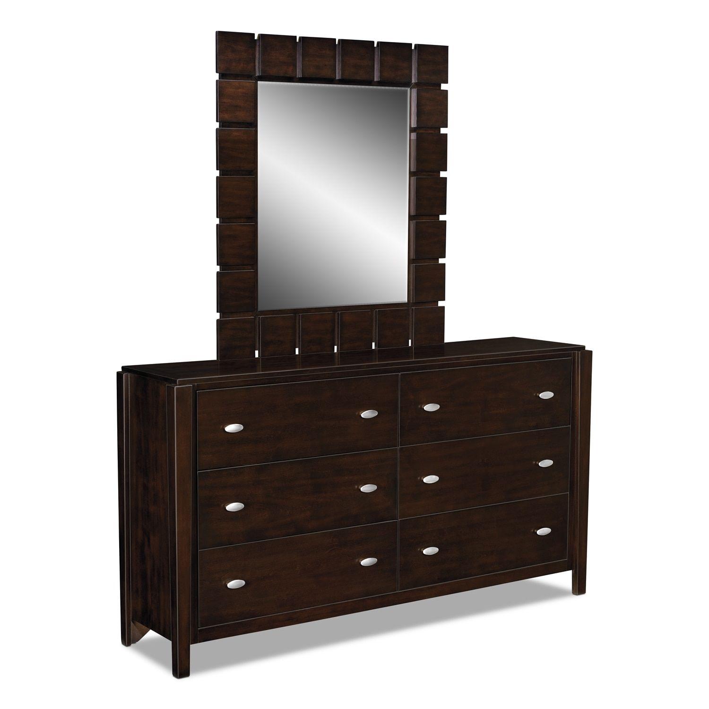 Mosaic Dresser And Mirror Dark Brown Dresser with