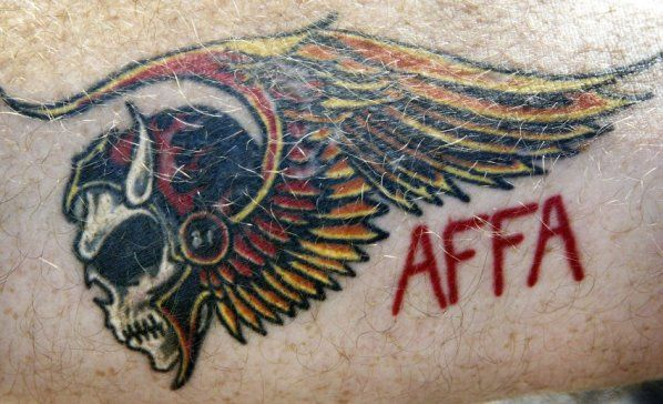 Angel's Forever, Forever Angels. Hell's Angels are the only ones who display this tattoo. Don't be a wise guy and get one of these tattoos even if they are an acronym for Always Fun Friends Association. The Hells Angels aren't always Fun Friends.