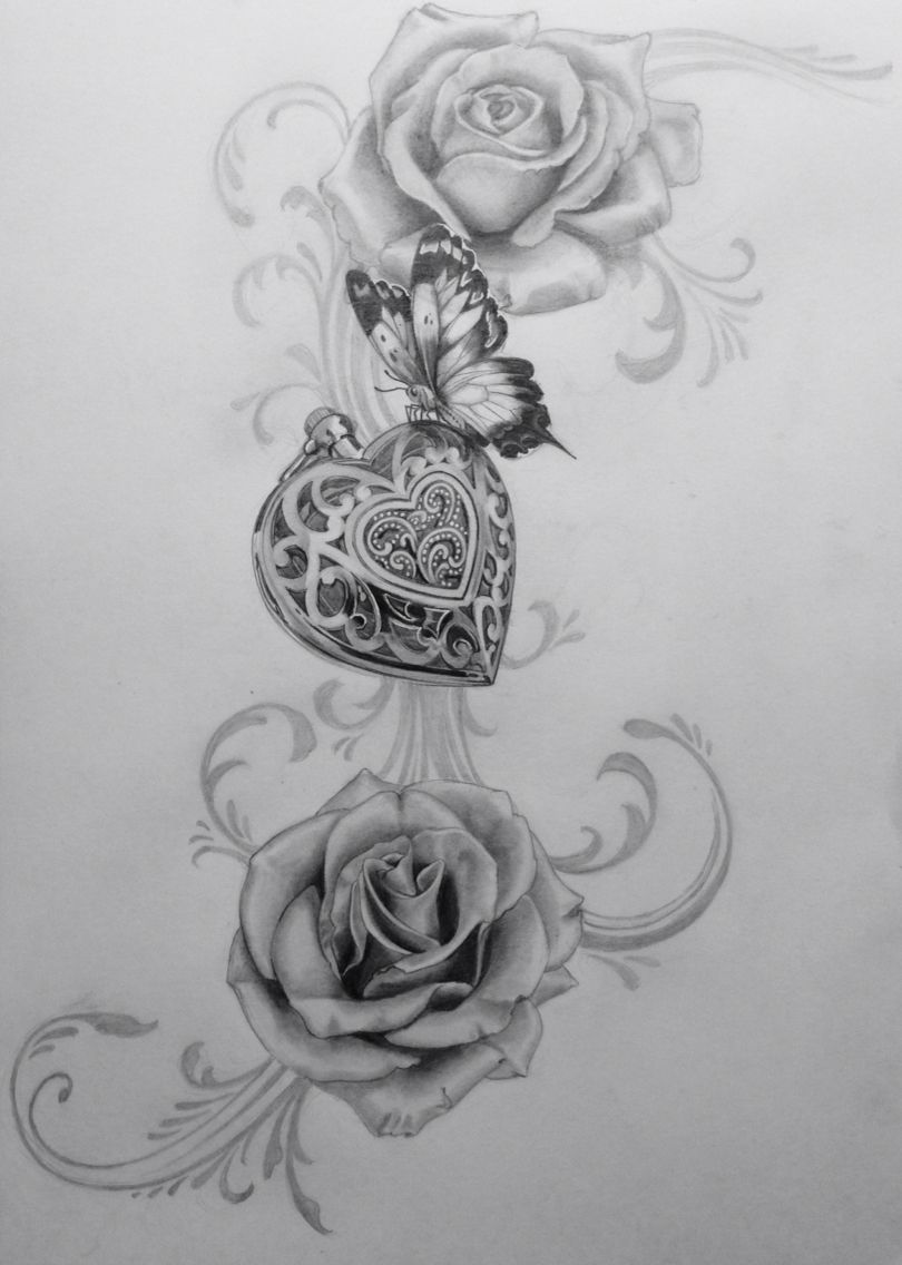 Roses And Butterflies Drawings Amulett draw dr...