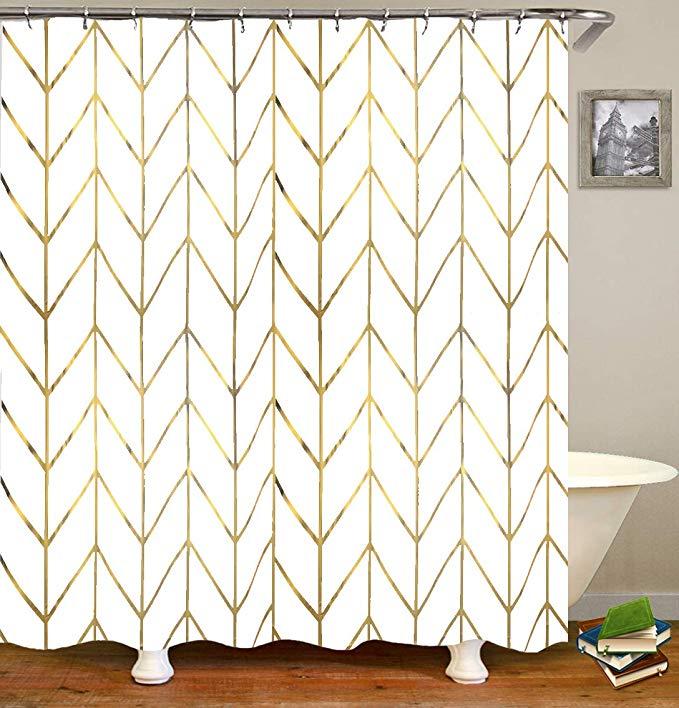 Amazon Com Jtmall Shower Curtain With Gold Chevron Geometric