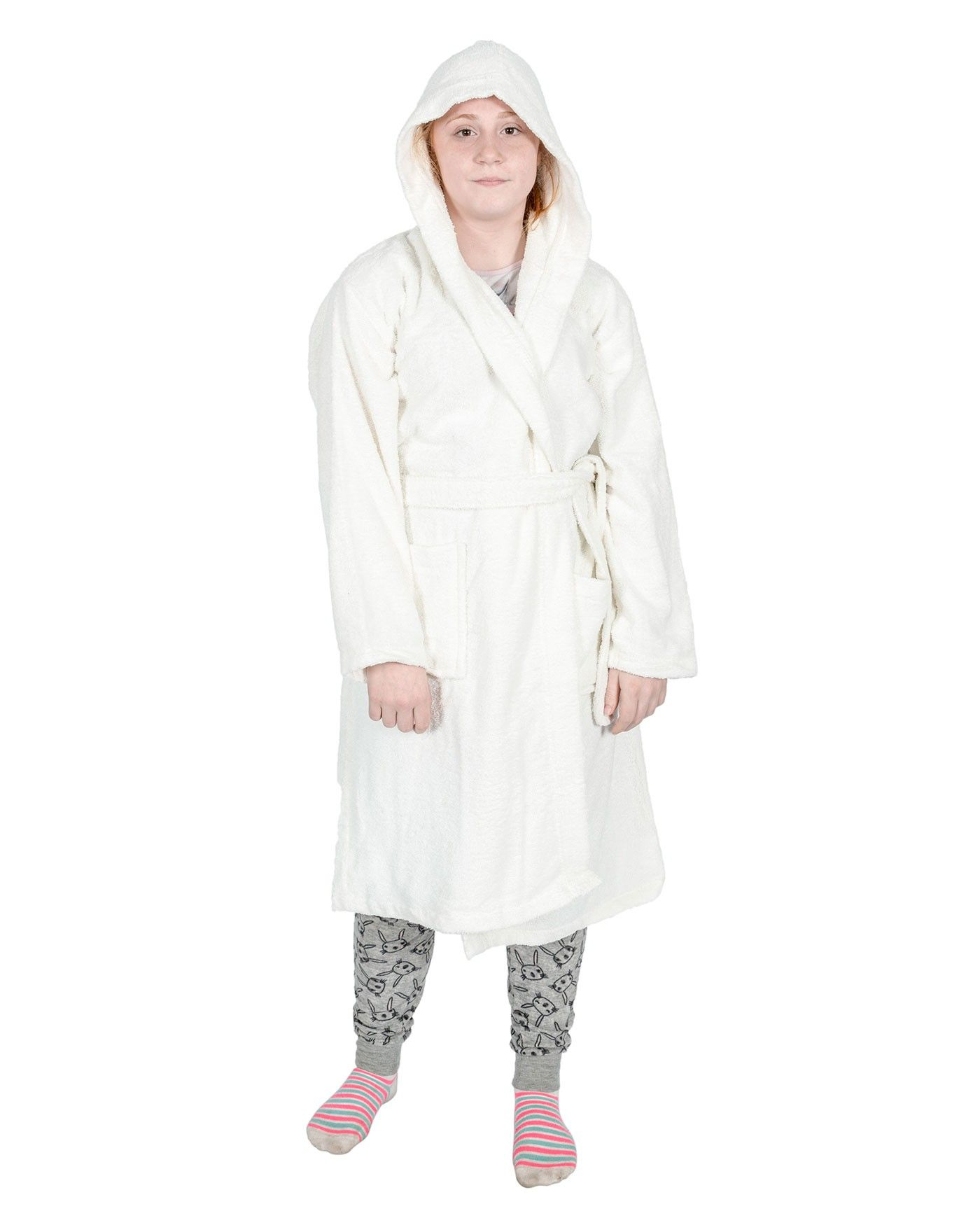 Cream 100% Combed Egyptian Cotton Hooded Kids Bathrobe, Small ...