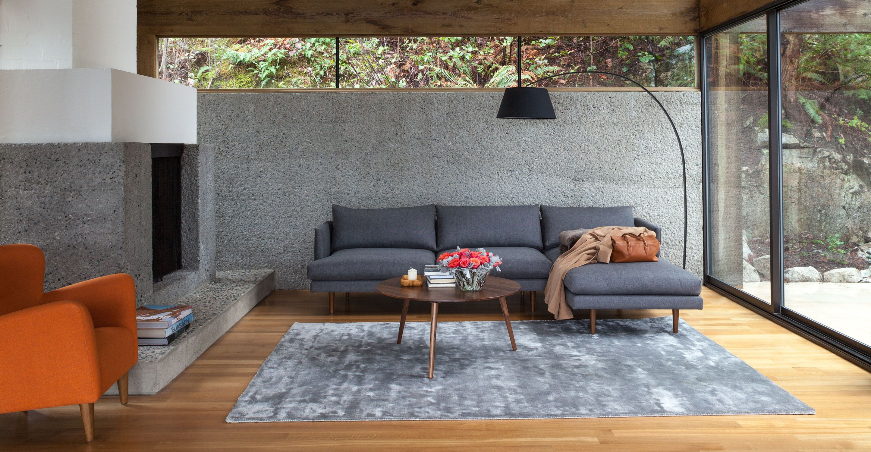 Burrard Graphite Gray Left Sectional Sofa Sectionals Article Modern Mid Century And S Mid Century Modern Sectional Sofa Furniture Scandinavian Furniture