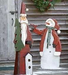 Hand Crafted Large Wooden Indoor And Outdoor Santa Figure in Holiday 2012 from Plow & Hearth on shop.CatalogSpree.com, my personal digital mall.