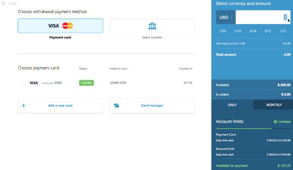transfer bitcoin to visa card