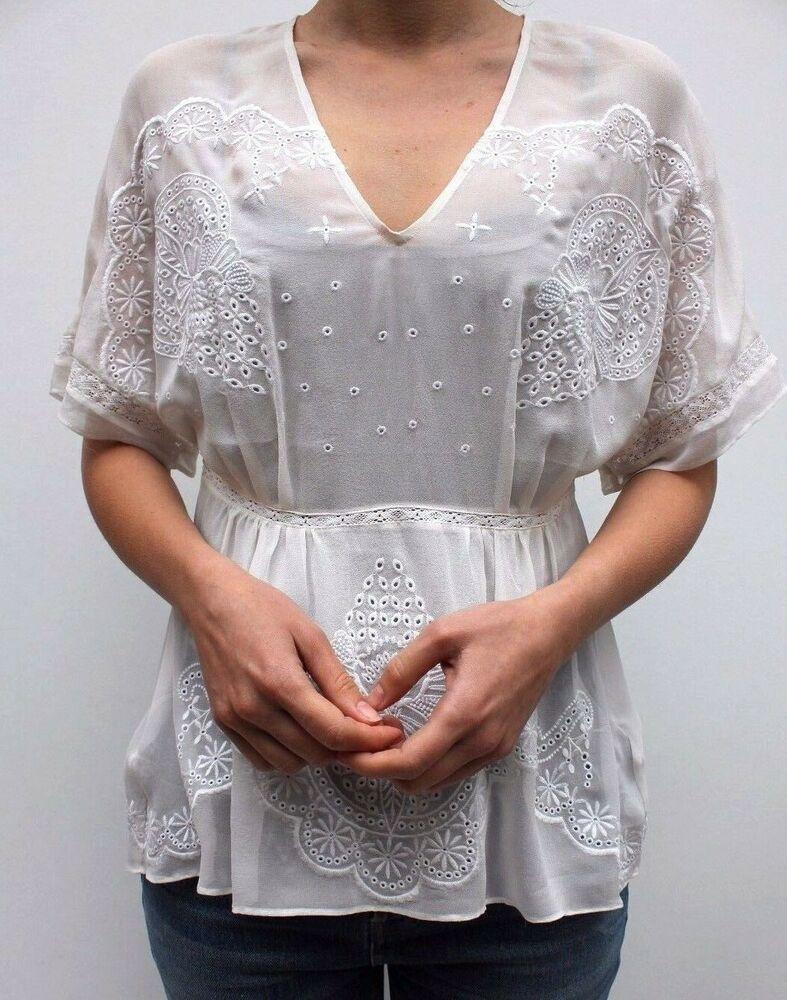 f47d1efbc46b7 Karen Millen White Embroidered Floral Lace Silk Kaftan Blouse Dress Top 6  to 12  KarenMillen