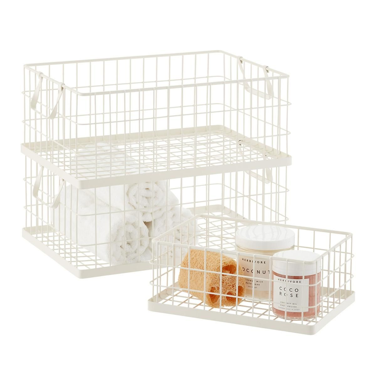 White Stacking Wire Bins Wire Bins Laundry Room Storage Large Storage Bins