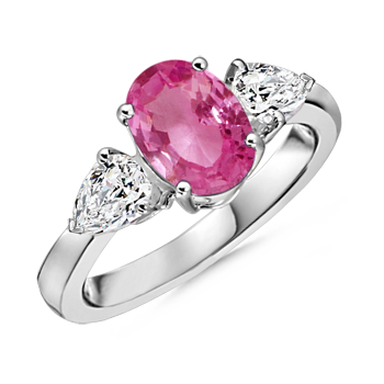 Angara Natural Pink Sapphire and Diamond Three Stone Ring in Platinum