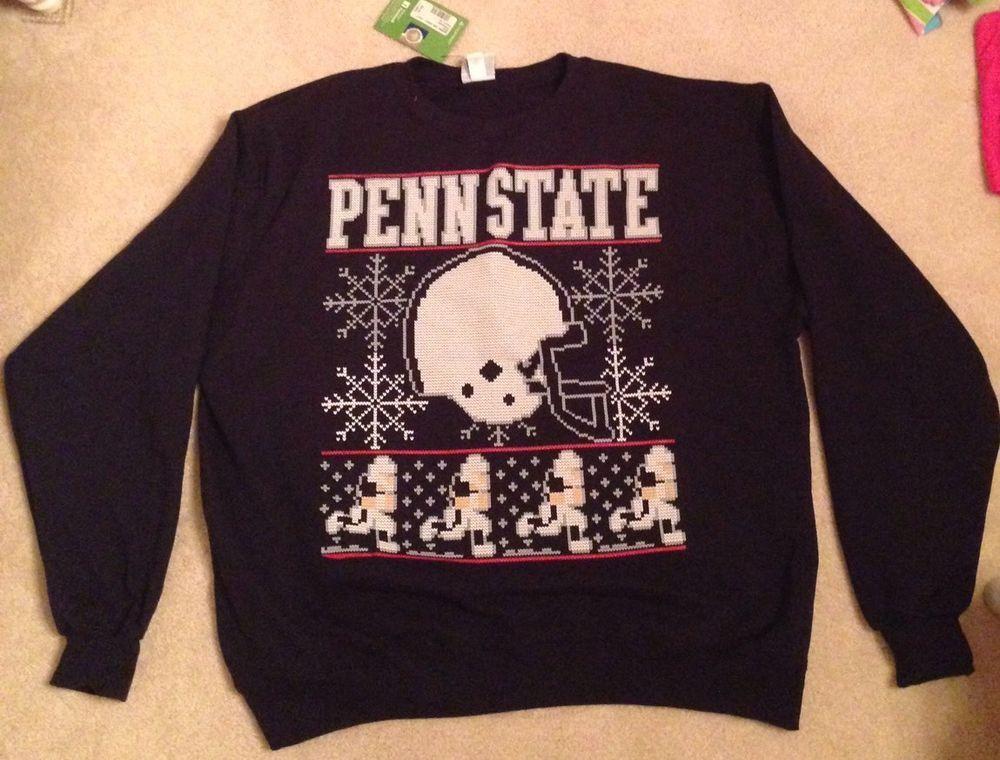 New Mens Penn State Ugly Christmas Champion Eco Fleece Navy