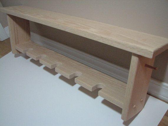 Decorative Oak Wall Shelf with Baseball Bat Rack Unfinished Holds 5 ...