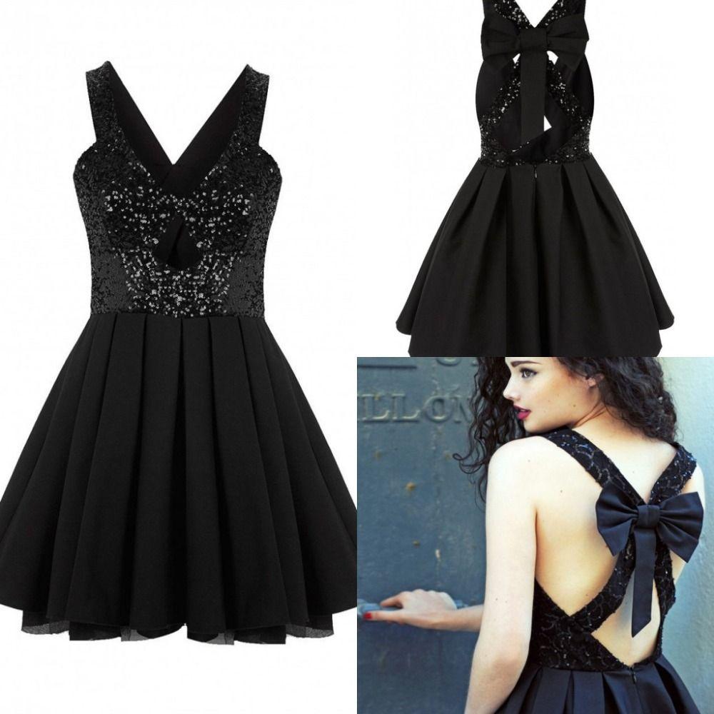 Semi-Formal Black Short Dress Aline