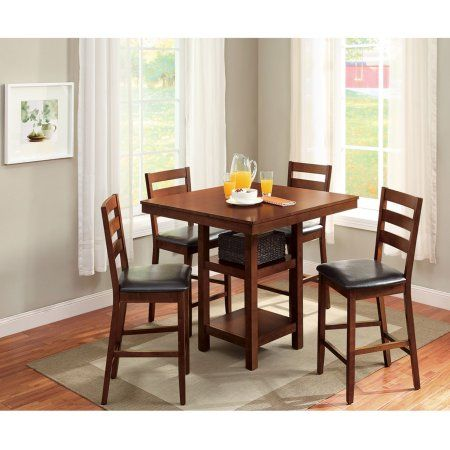 Better Homes Gardens Dalton Park 5 Piece Counter Height Dining Set Includes Table And Four Chairs Mocha Finish