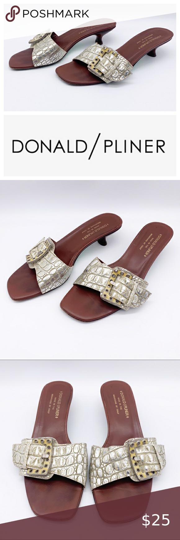 Donald J Pliner Joss Kitten Heel Silver Sandals In 2020 Kitten Heel Sandals Silver Sandals Silver Heels