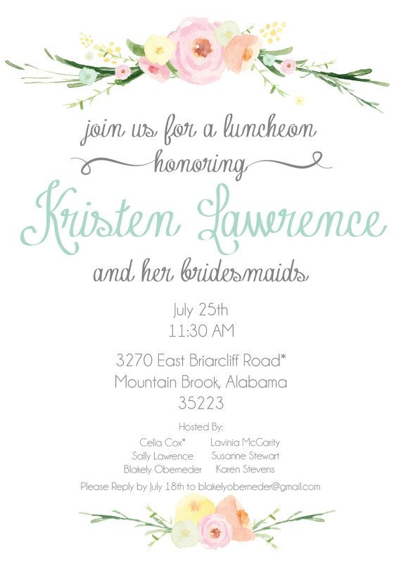this bridesmaids luncheon bridal tea invitation is perfect for any