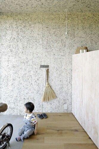 Particle board walls n ceiling modern forest living - Osb peint en blanc ...