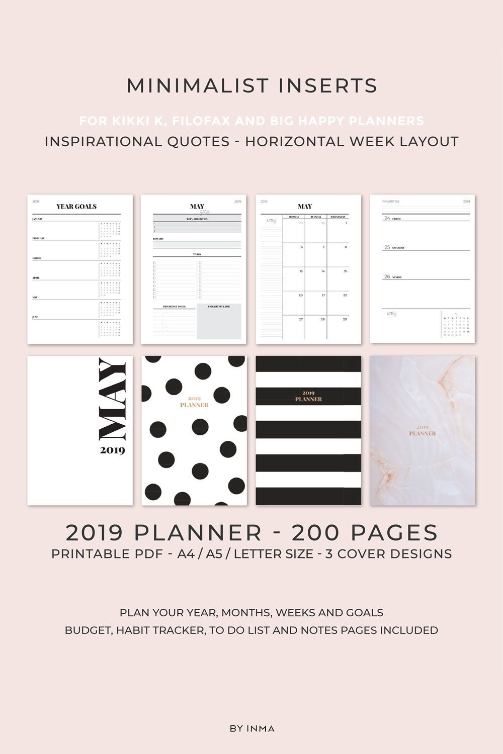 graphic regarding Happy Planner Monthly Layout Printable named 2019 Planner PRINTABLE, HORIZONTAL style weekly planner