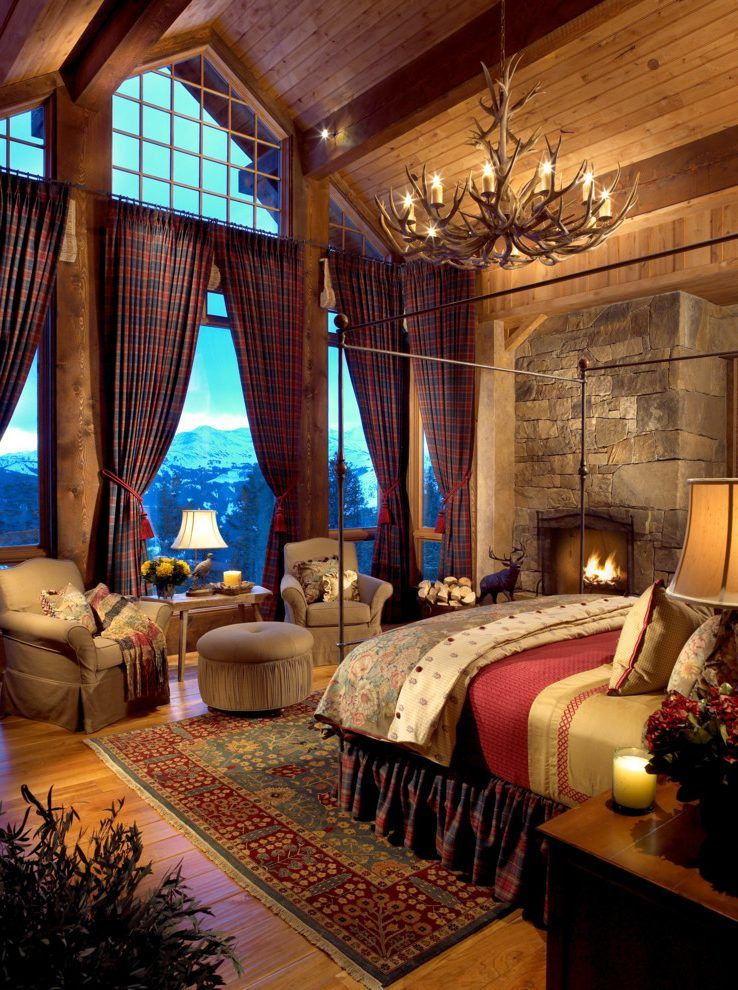 ski lodge fireplace bedroom rustic with montana wooden ...