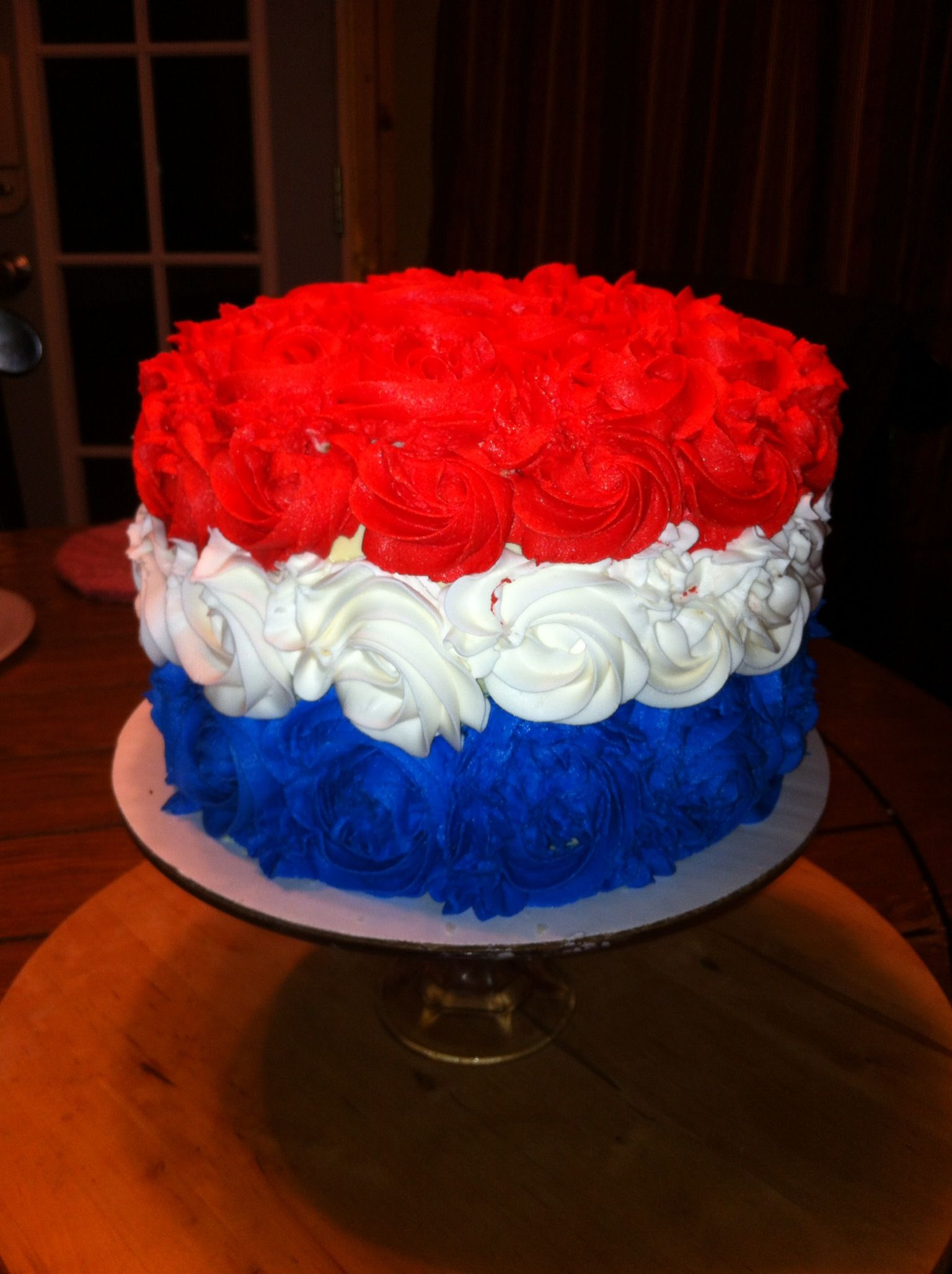 Red White And Blue Rosette Cake With Images Cake