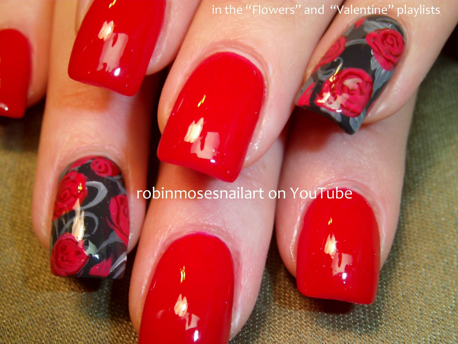 37 red nails with rose , flower design on some   Nails   Pinterest ...