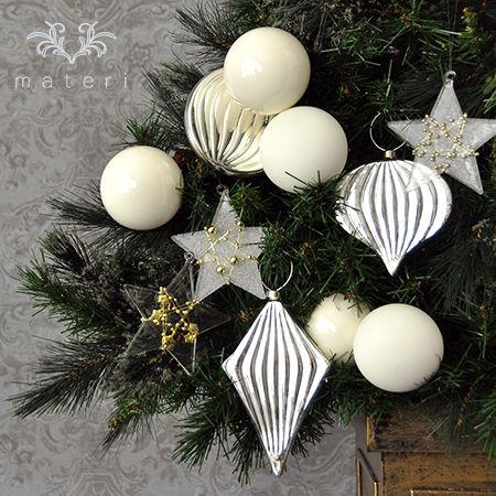 シルバーグラス2Dオーナメントセット|クリスマス雑貨の通販【マテリ】 |
