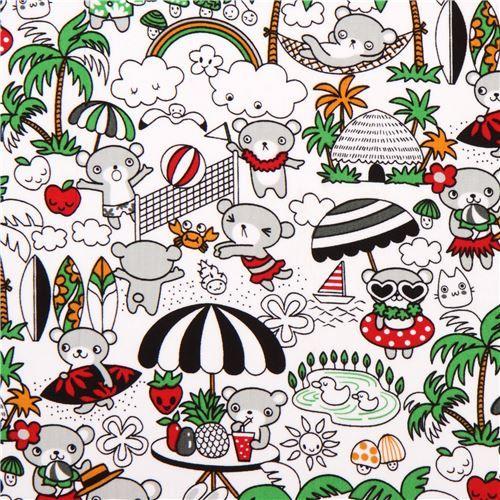 Trans-Pacific Textiles asiatischer Stoff mit niedlichen Bären, Früchten, Palmen usw.
