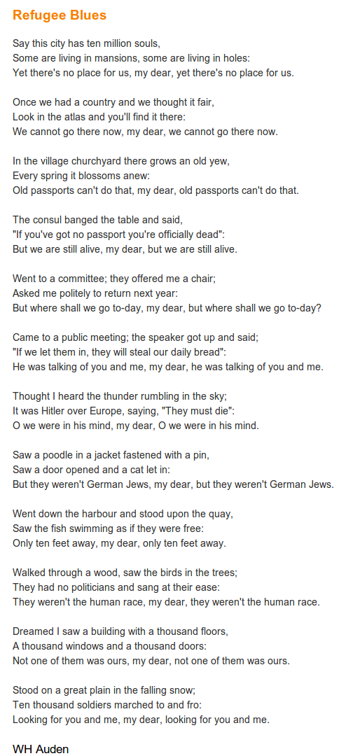 Risultati immagini per refugee blues poem