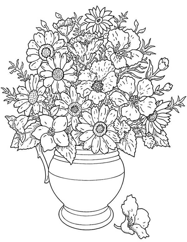 coloring pages of flowers in a vase california poppy in a vase