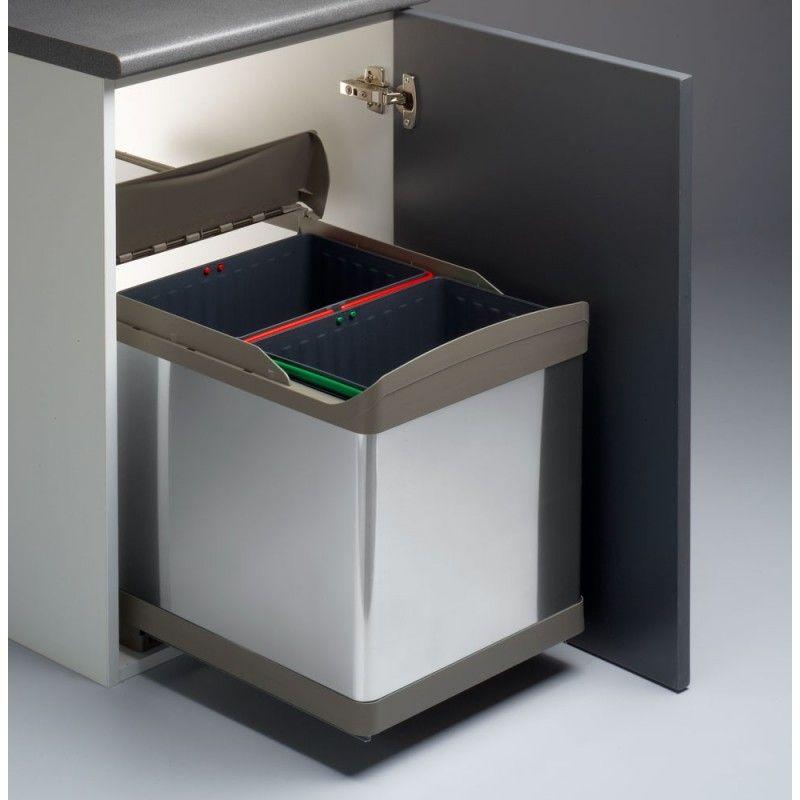 Cubo De Reciclaje Elegante Para Armario De 45cm 2x21l