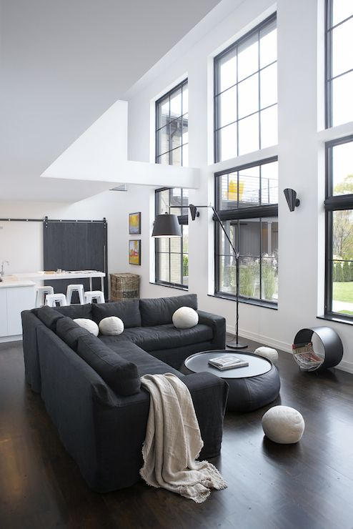 Leo Designs Chicago Living Rooms Black And White Living Room Black Sectional Black Slipcovered Sectio Interior Design Open Concept Living Room Home Decor #open #concept #living #room #with #sectional