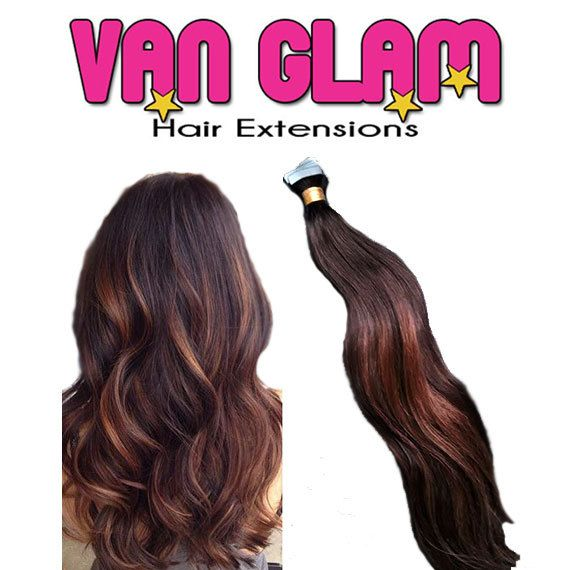 Sultry Dark Brown Chestnut Balayage Tape In Extensions 20 Cuticle